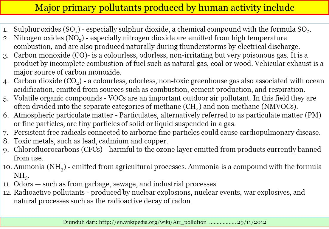 Major primary pollutants produced by human activity include