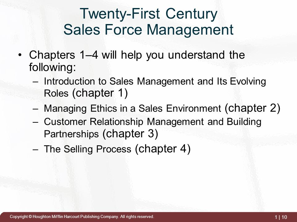 ethics and the roles of the sales managers Culture, and a sales management control strategy contributes to ethical decisions  in  sales function in a strategic role to participate in the development and.