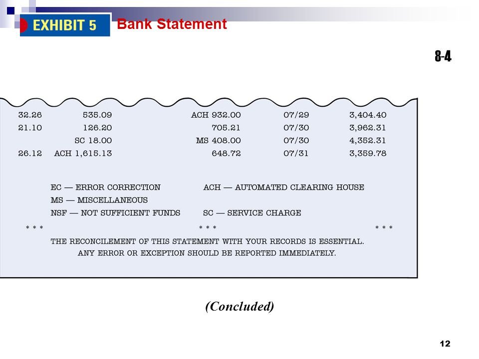 Bank Statement 8-4 (Concluded)