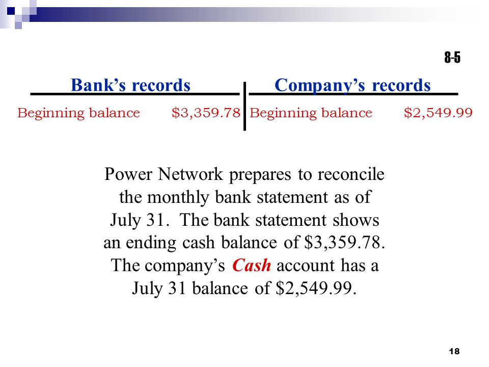 Bank's records Company's records