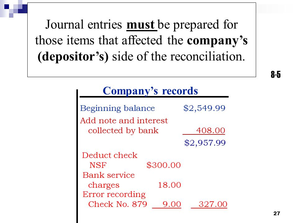 Journal entries must be prepared for those items that affected the company's (depositor's) side of the reconciliation.