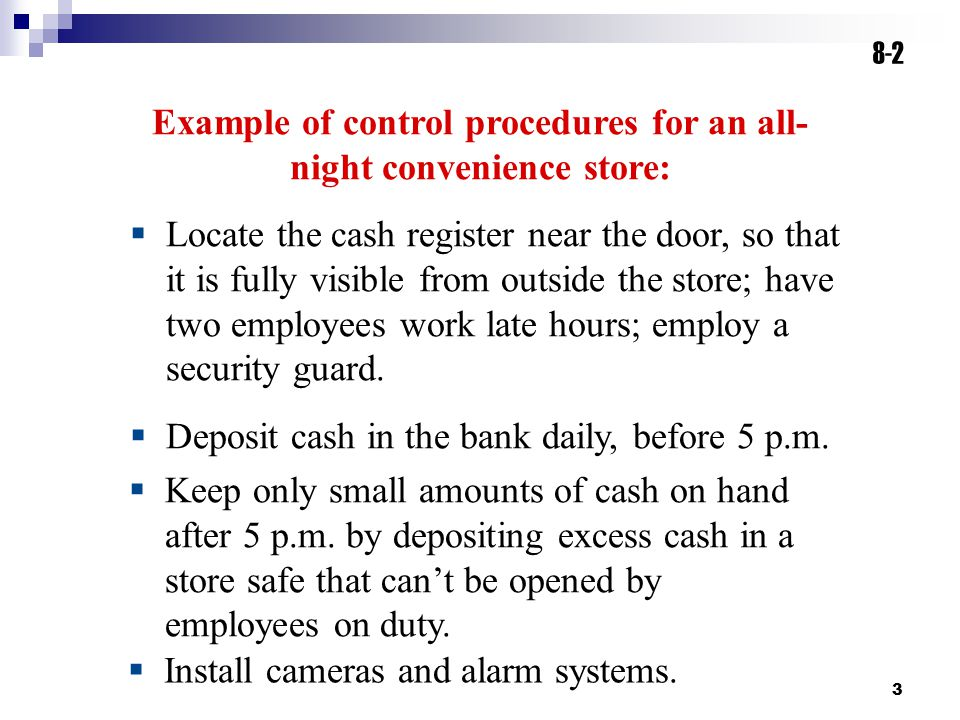 Example of control procedures for an all-night convenience store: