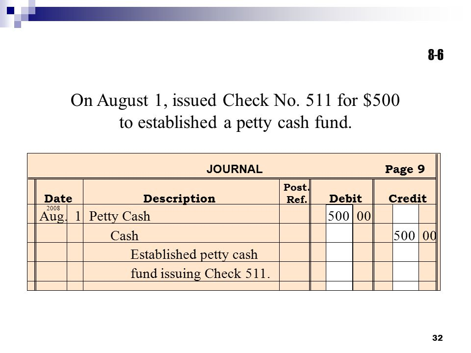 8-6 On August 1, issued Check No. 511 for $500 to established a petty cash fund. JOURNAL. Page 9.