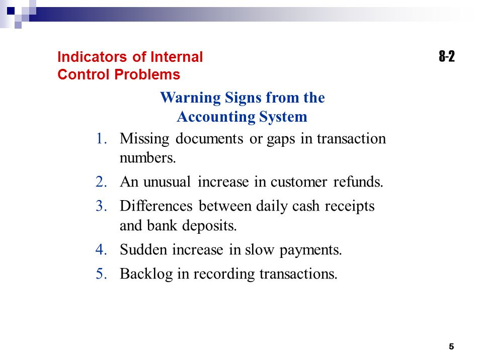 Warning Signs from the Accounting System
