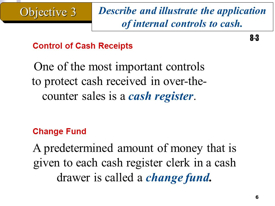 Describe and illustrate the application of internal controls to cash.