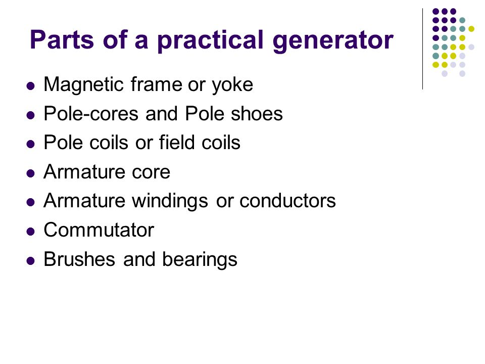 Parts of a practical generator