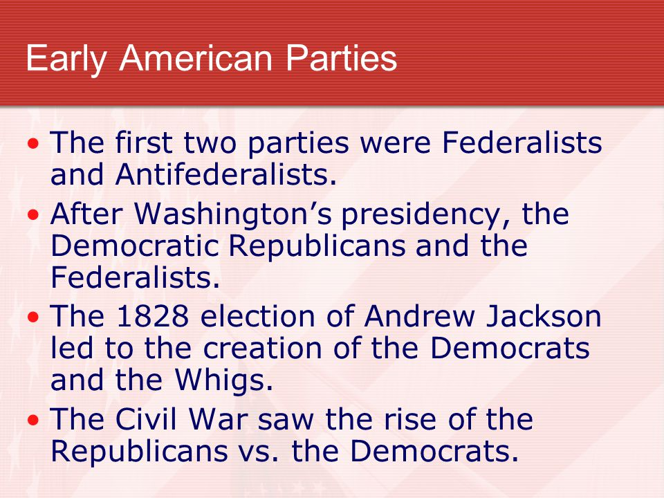 federalists and whigs The democratic-republican party was an american political party formed by thomas jefferson and james madison between 1791 and 1793 to oppose the federalist and democratic-republican strength in the whig party fell apart in the 1850s over the question of whether to allow the.