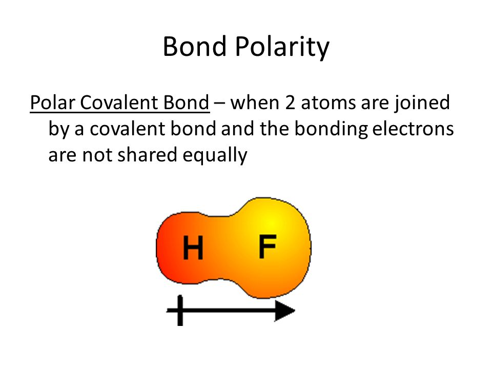 Bond Polarity Polar Covalent Bond – when 2 atoms are joined by a covalent bond and the bonding electrons are not shared equally.