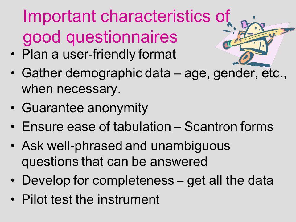 characteristics of a good questionnaire pdf