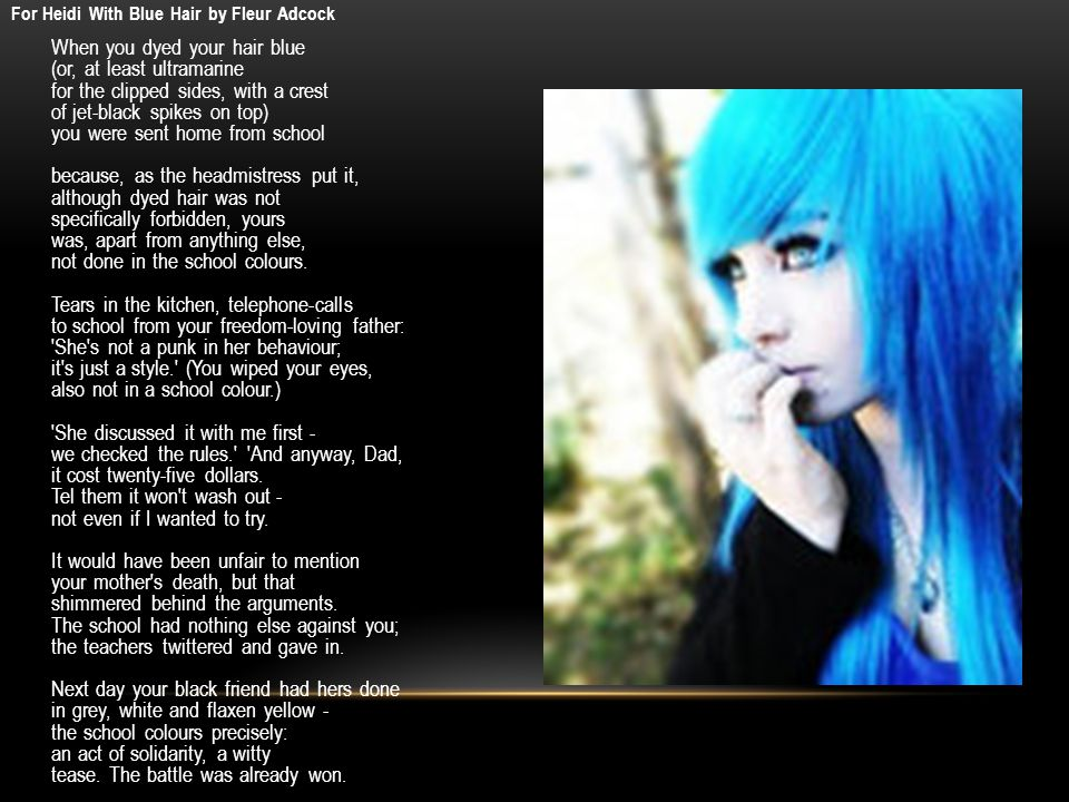 heidi blue hair essay For heidi with blue hair by fleur adcock is a six-stanza poem that uses action  and dialogue to paint a literary picture where little to no physical setting is.