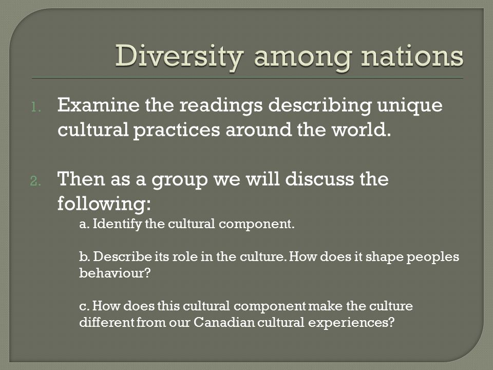 an analysis of the cultural diversity in different nations The international fund for cultural diversity is a means to support the implementation of the convention, by fostering the emergence of a dynamic cultural sector in developing countries projects cover a wide range of activities – from capacity-building and cultural mapping to policy analysis and .