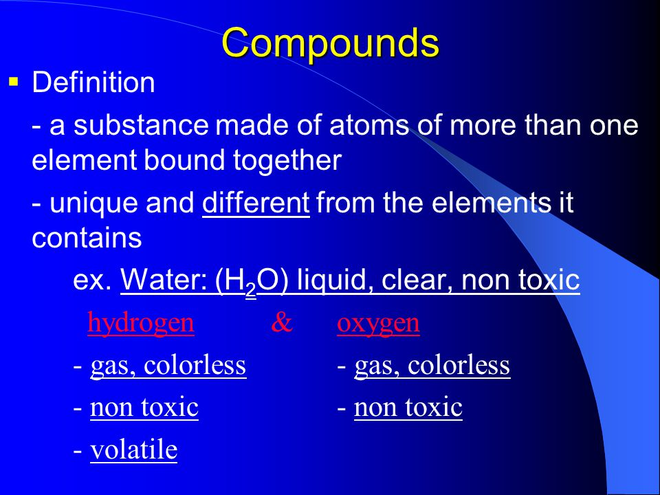 Can you explain me what are element, compound, and mixture mean with the examples ?