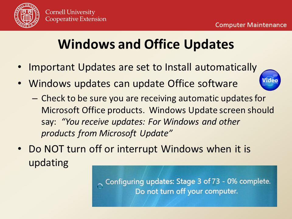 Computer maintenance support training and resources - Get updates for windows office and more ...