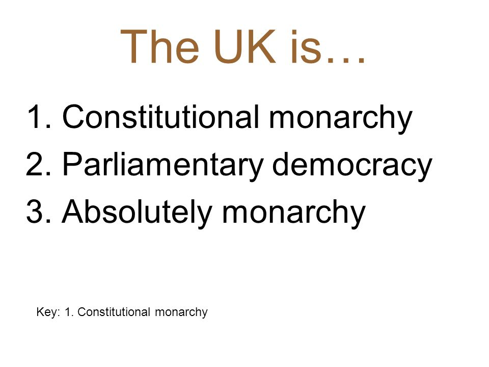 Key: 1. Constitutional monarchy