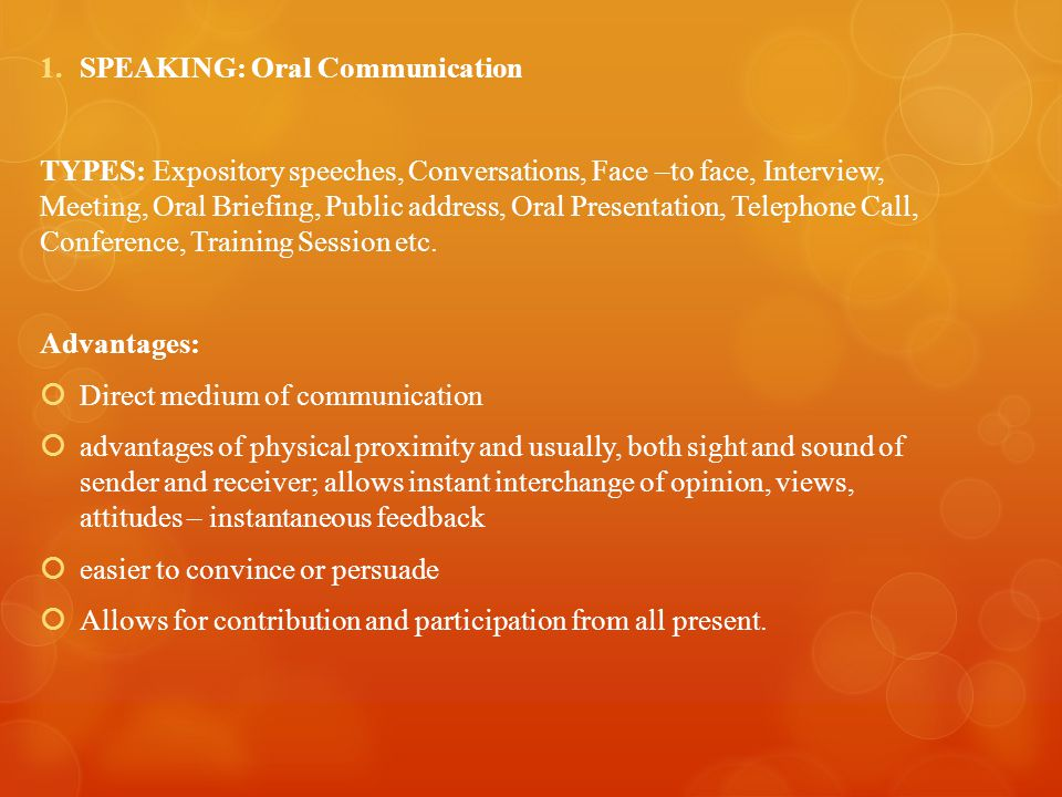 SPEAKING: Oral Communication