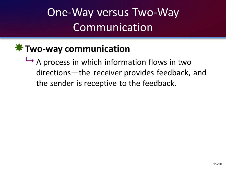 One-Way versus Two-Way Communication