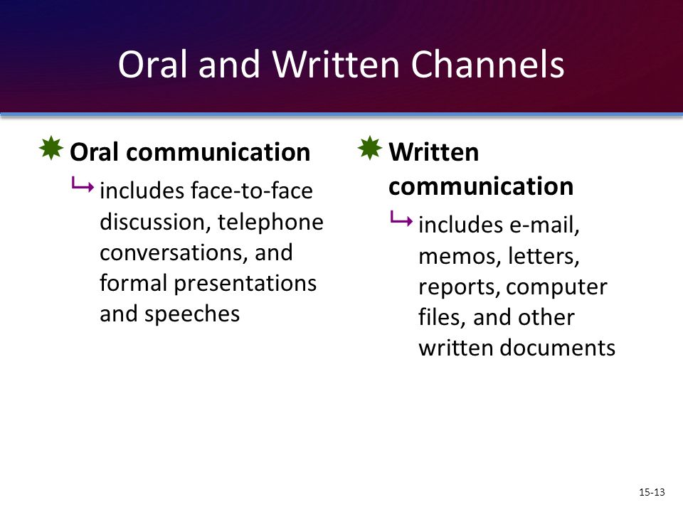 Oral and Written Channels