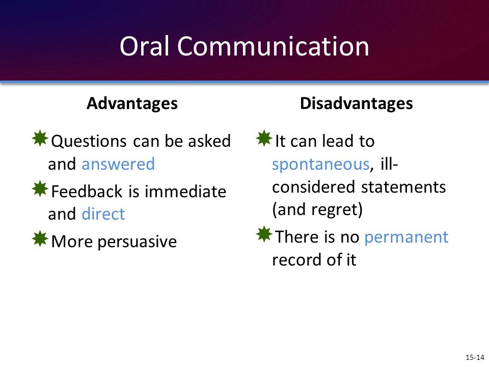 Oral Communication Advantages Disadvantages