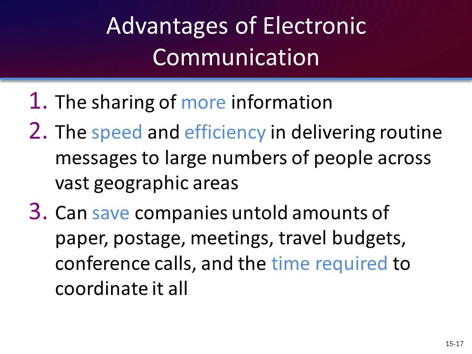 Advantages of Electronic Communication