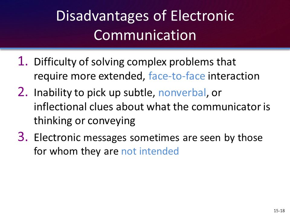 Disadvantages of Electronic Communication