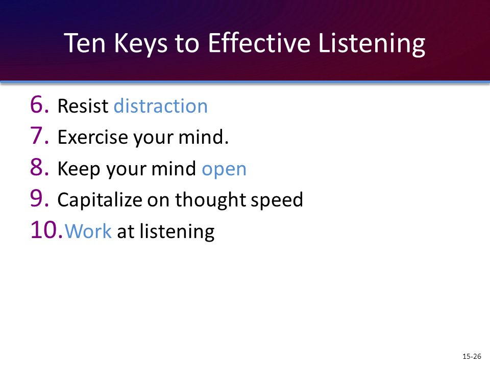 Ten Keys to Effective Listening