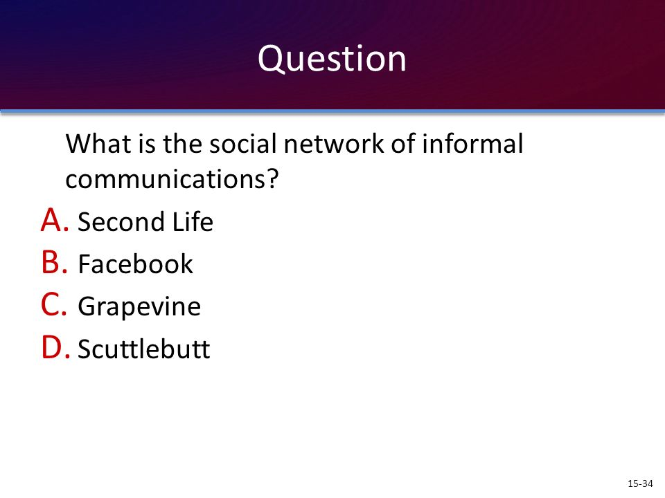 Question What is the social network of informal communications