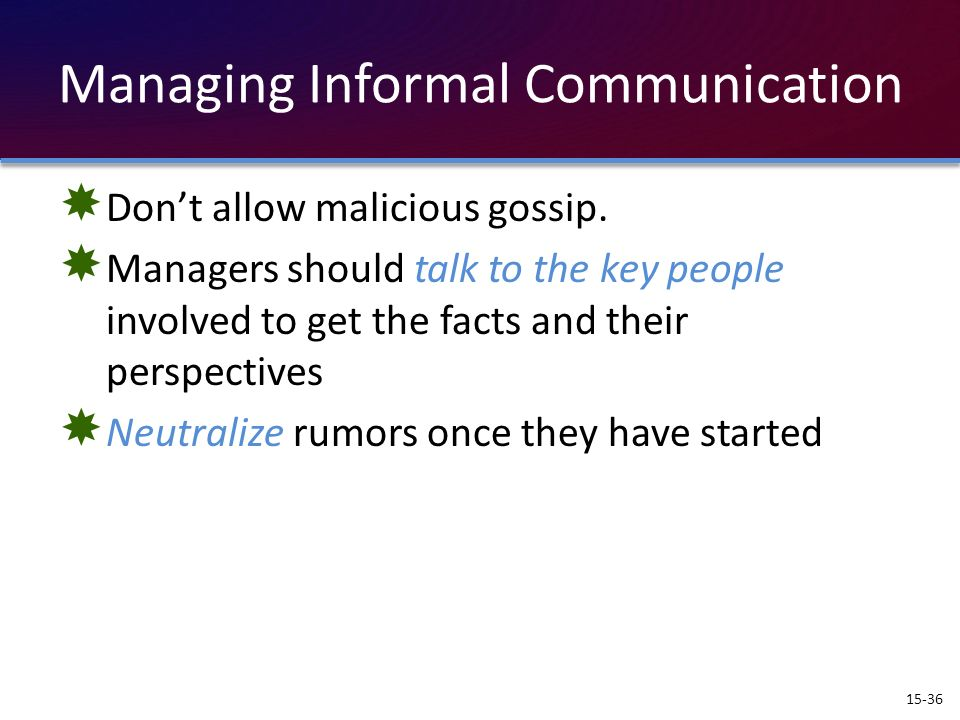 Managing Informal Communication