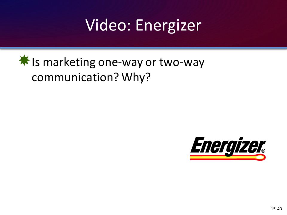 Video: Energizer Is marketing one-way or two-way communication Why