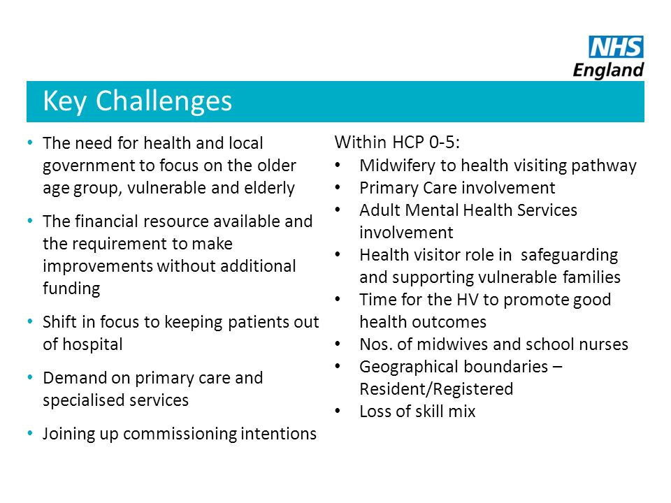 Key Challenges Within HCP 0-5: