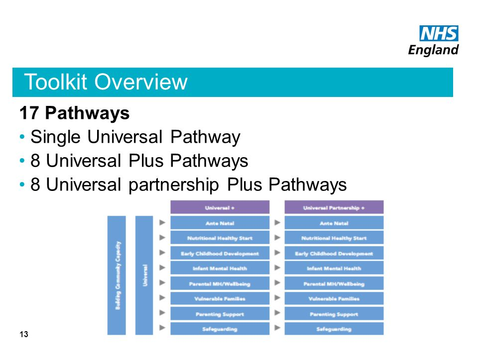Toolkit Overview 17 Pathways Single Universal Pathway