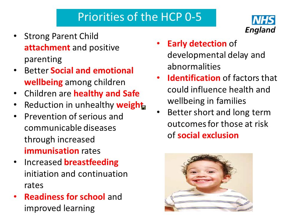 Priorities of the HCP 0-5 Strong Parent Child attachment and positive parenting. Better Social and emotional wellbeing among children.