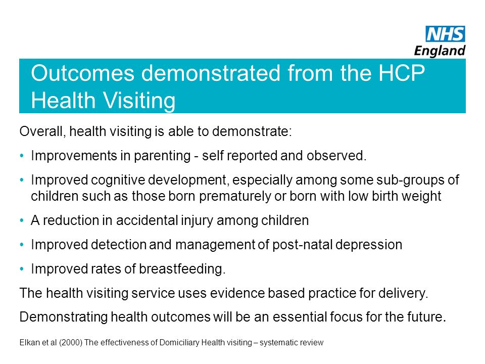 Outcomes demonstrated from the HCP Health Visiting