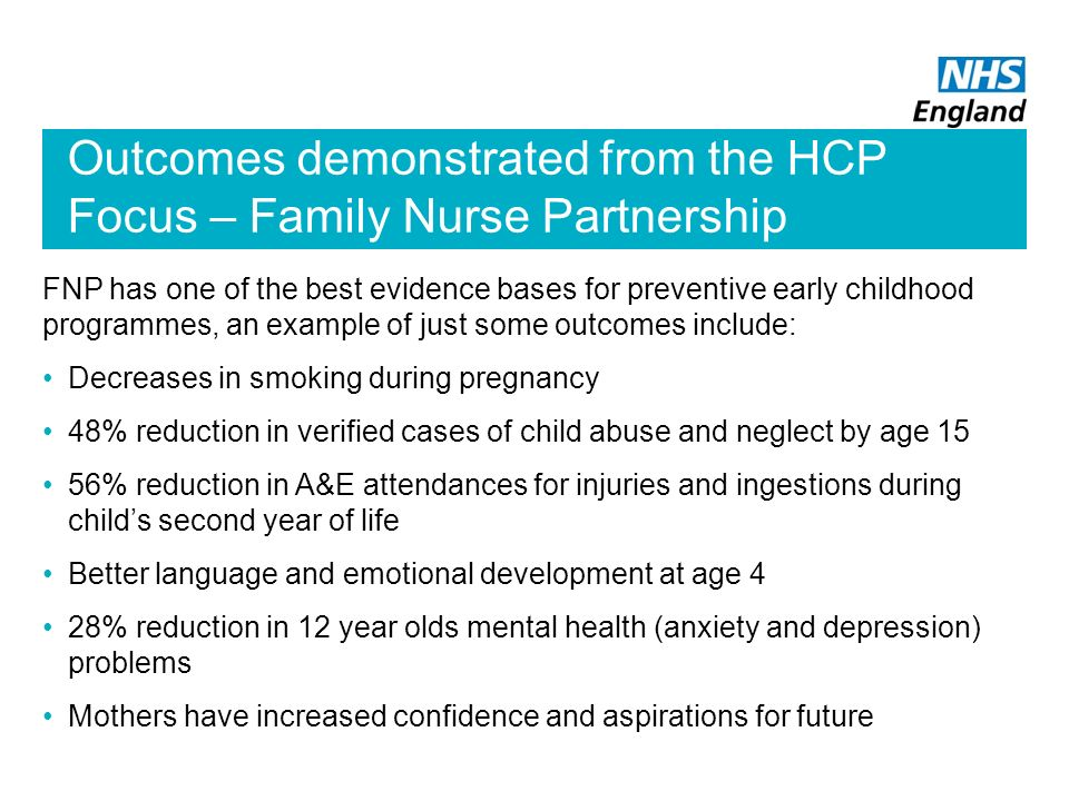 Outcomes demonstrated from the HCP Focus – Family Nurse Partnership
