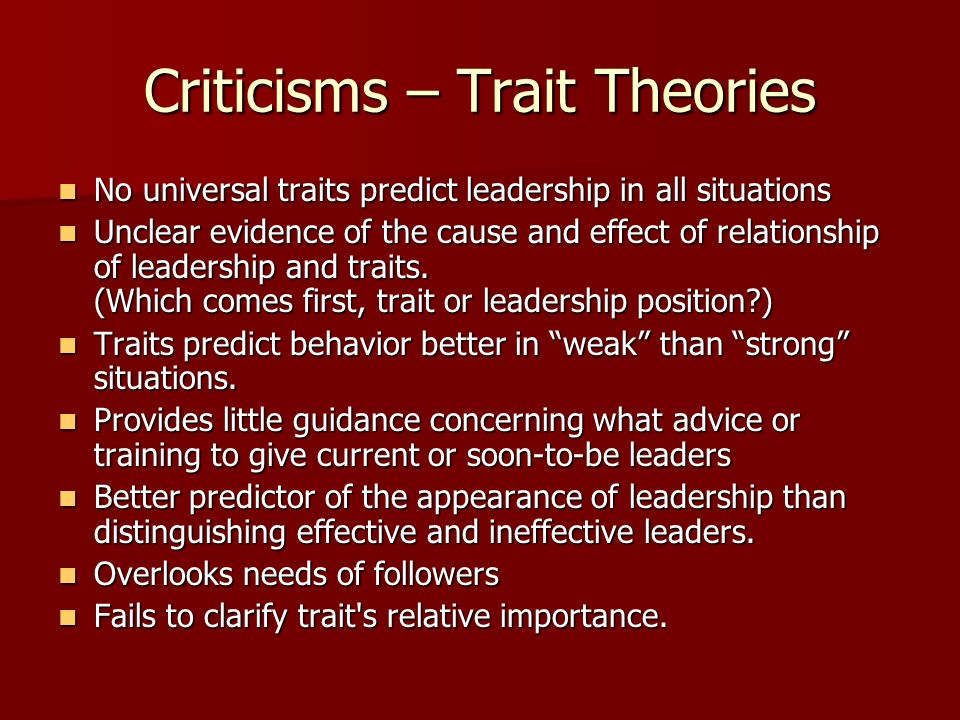 leadership and management traits and theories Leadership traits are characteristics possessed by people who are able   according to the society for information management's sim 2015 it.