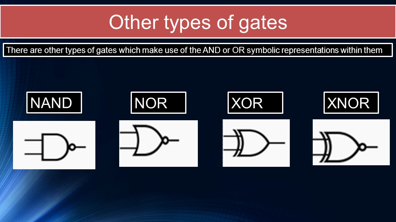Other types of gates NAND NOR XOR XNOR