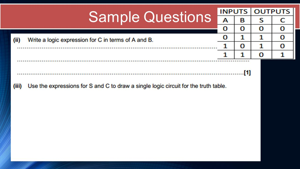 Sample Questions *taken with permission from OCR (Specimen paper)