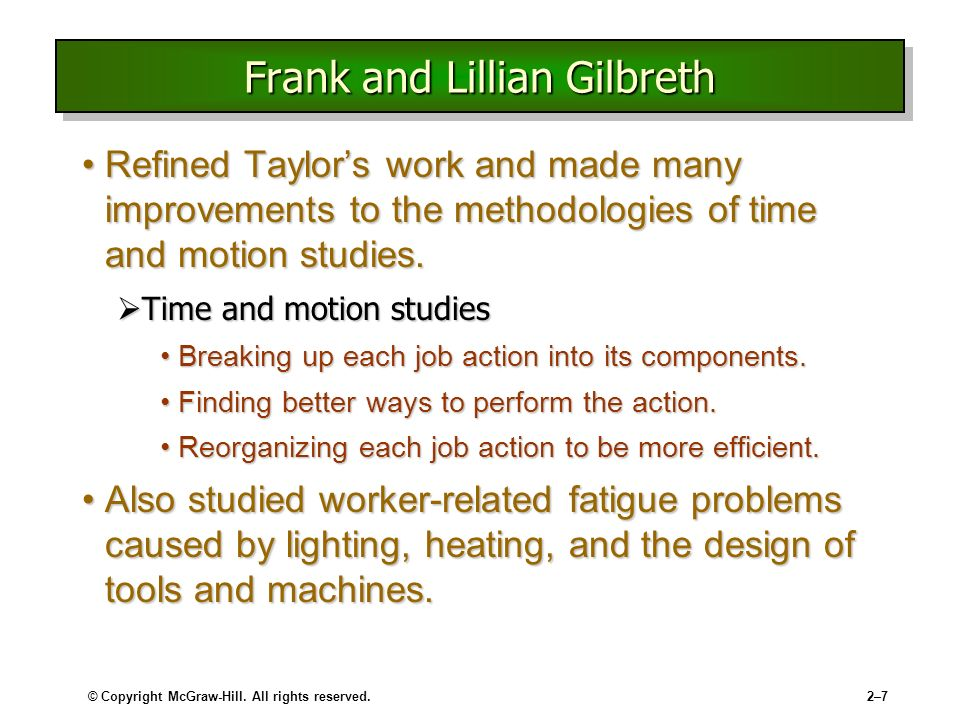 frank lillian gilbreth method time motion studies The aim of frank and lillian gilbreth's motion studies were to examine the movements of workers as they moved a product down the production line provide information for reorganizing workers.