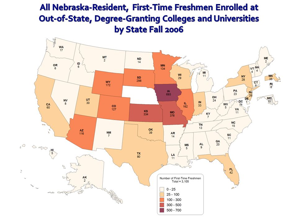 All Nebraska-Resident, First-Time Freshmen Enrolled at Out-of-State, Degree-Granting Colleges and Universities by State Fall 2006