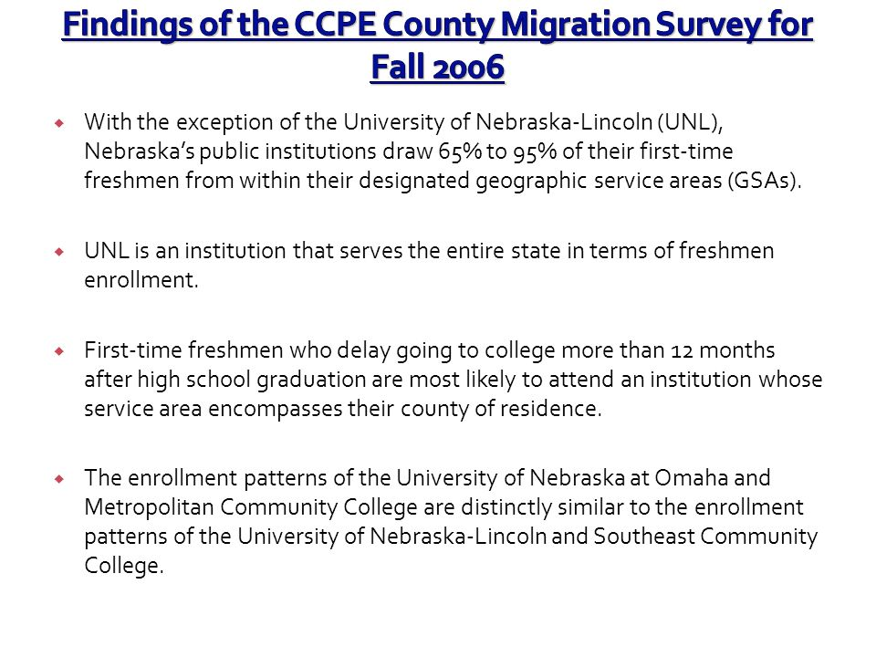 Findings of the CCPE County Migration Survey for Fall 2006