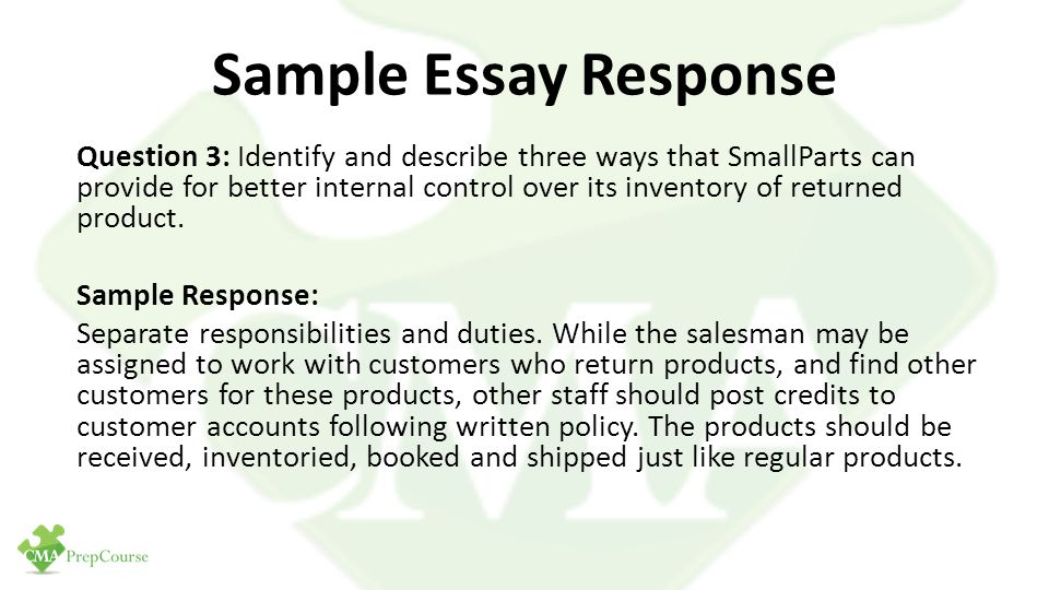 essay question response format Sample argument task sample essay responses essay response — score 6 while it the answer to this question requires a survey to find out the reasons our.