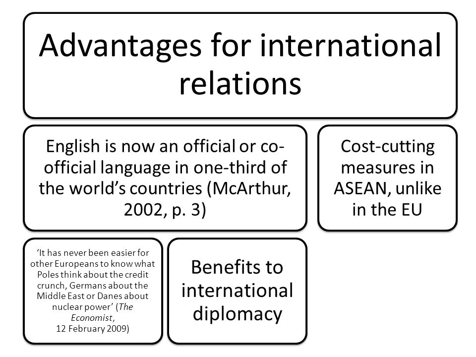 advantages and disadvantages of english as a lingua franca The existence of a global lingua franca provides a huge advantage to a large   however, it is argued that this situation has led to severe disadvantages for.