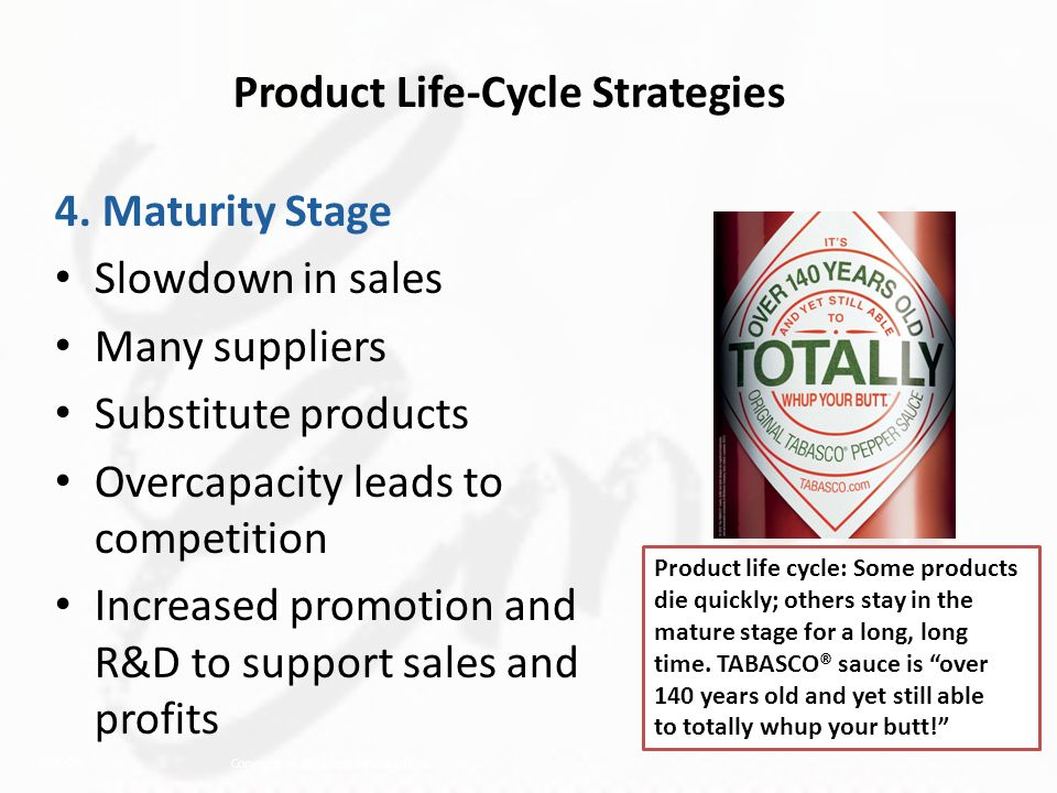 strategies used in the maturity stage of the product life cycle Product life cycle strategies in emerging markets the last stage in the product life cycle is decline level when the product reaches the maturity stage.