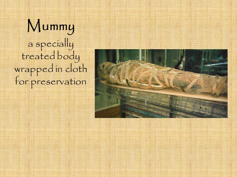 a specially treated body wrapped in cloth for preservation