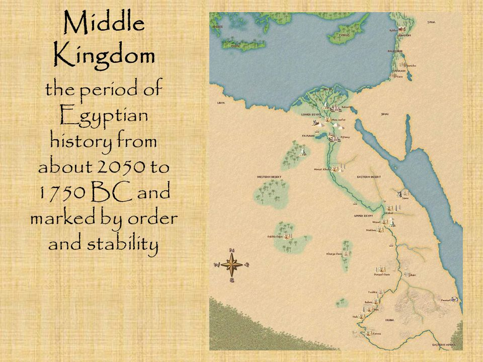 Middle Kingdom the period of Egyptian history from about 2050 to 1750 BC and marked by order and stability.
