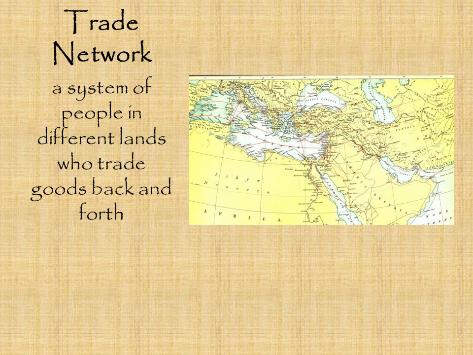 a system of people in different lands who trade goods back and forth