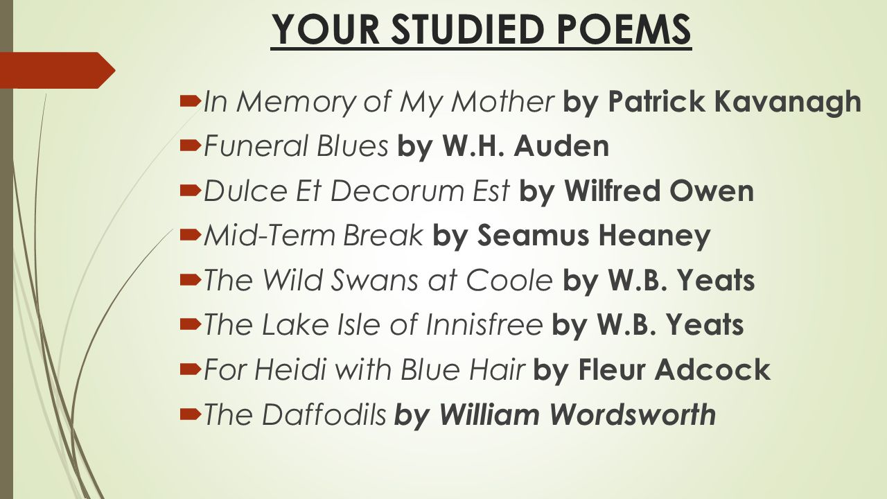 In Memory of W. B. Yeats Analysis