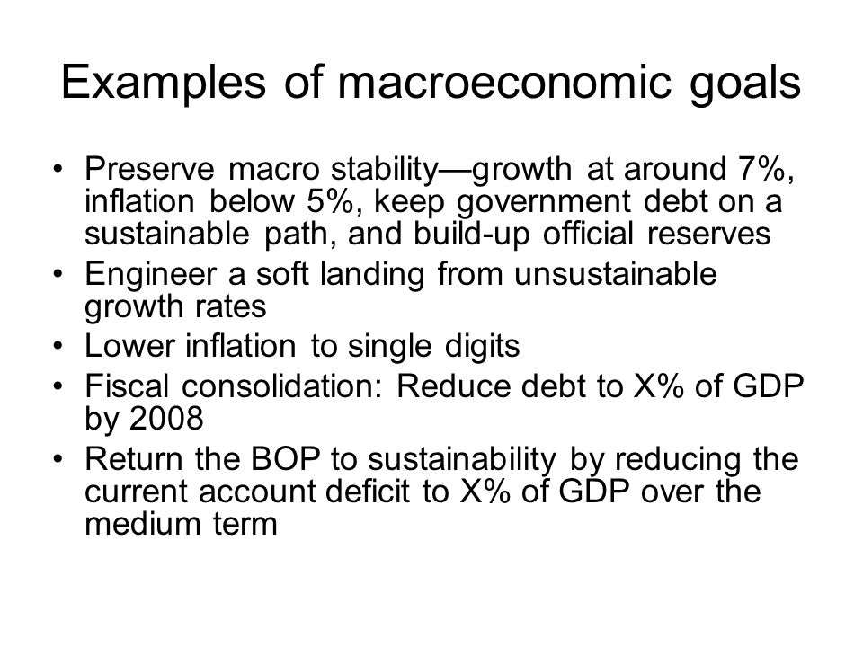 Examples of macroeconomic goals