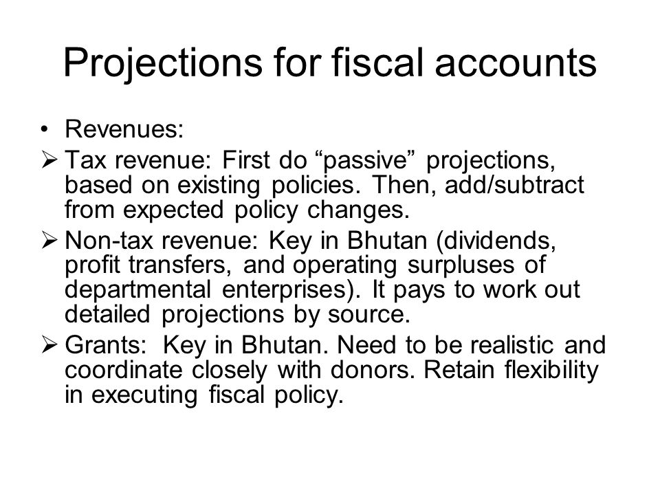 Projections for fiscal accounts