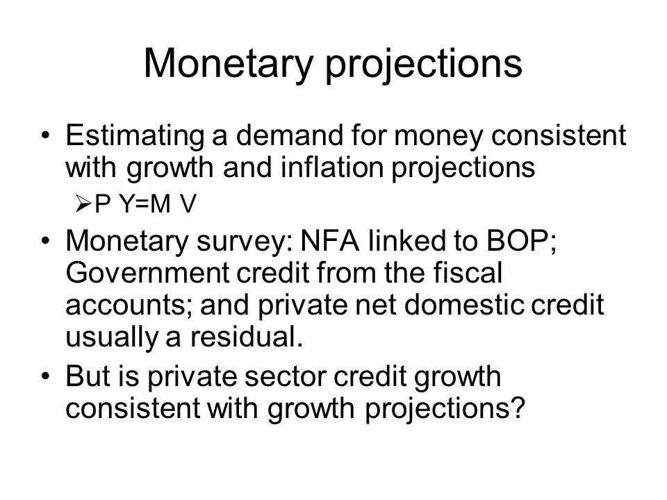 Monetary projections Estimating a demand for money consistent with growth and inflation projections.