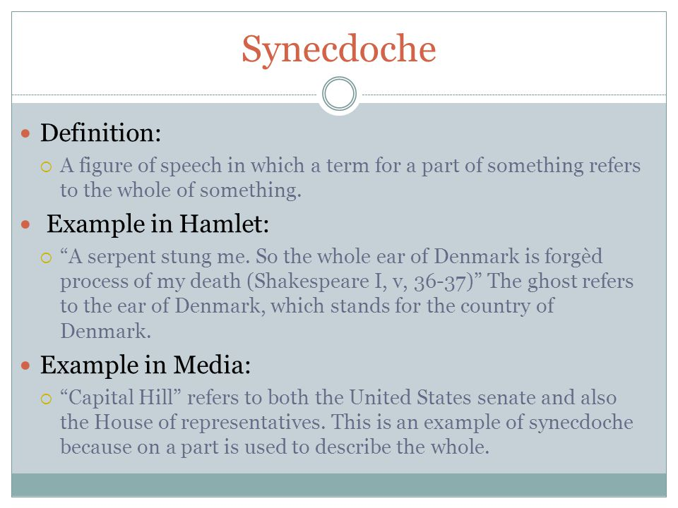 Synecdoche Definition: Example in Hamlet: Example in Media: